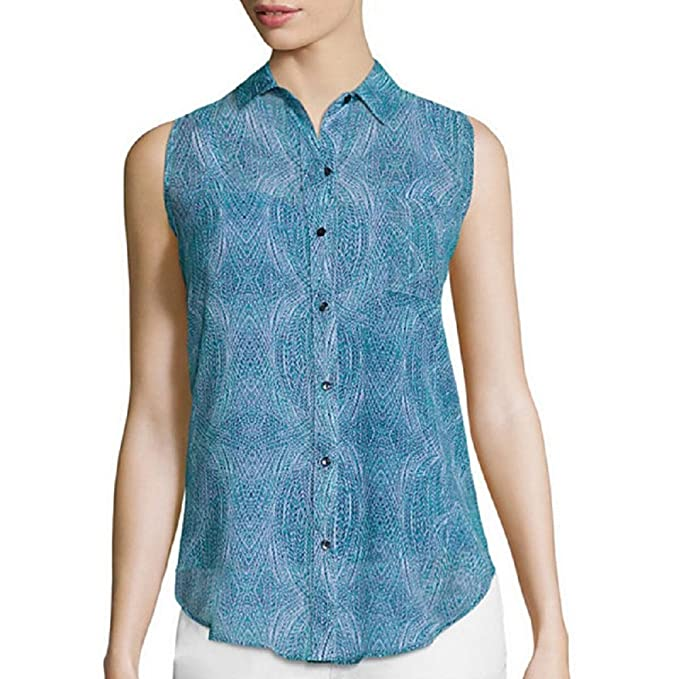 19f44a3d4cc10 Liz Claiborne Sleeveless Woven Button-Front Shirt Size PM  Amazon.ca   Clothing   Accessories