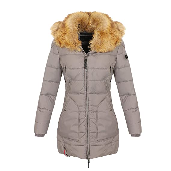 Marikoo Damen Winter Jacke Parka Stepp Mantel Teddyfell Fellkragen KNLMS