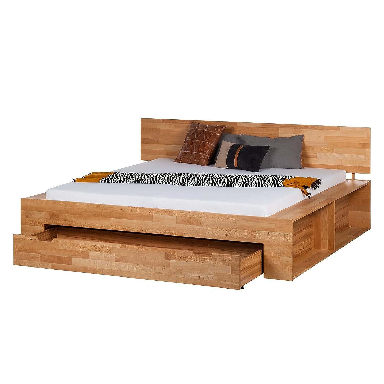 Massiv Holz Bett 120x200 cm Eiche Bettkasten Regal Bettgestell ...
