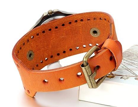 Amazon.com: JewelryWe Vintage Leather Strap Wide Band Wristwatch Cuff Quartz Watch for Men - Yellow: Watches