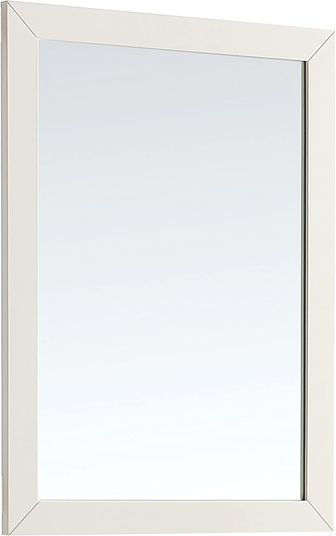 SIMPLIHOME Paige 24 inch x 34 inch Bath Vanity Décor Mirror in Off White