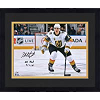 """Framed Zach Whitecloud Vegas Golden Knights Autographed 16"""" x 20"""" White Jersey Skating Photograph with""""NHL Debut 4/5/18""""… photo"""