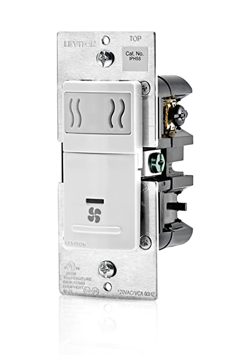 Leviton IPHS5-1LW Humidity Sensor and Fan Control, Single Pole, White