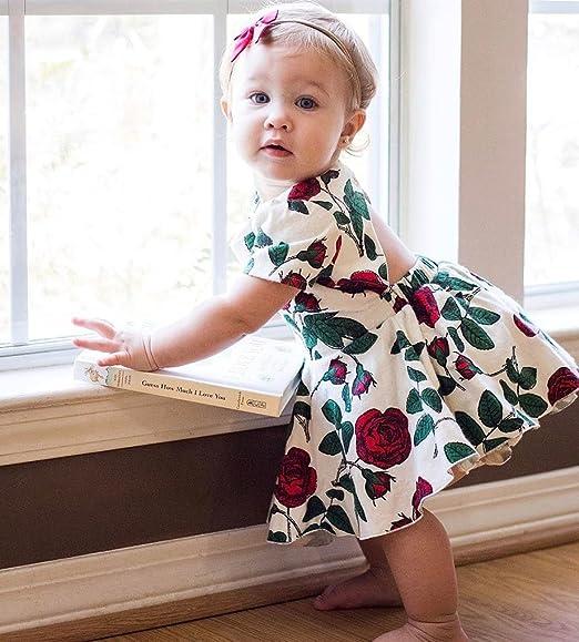 DaMohony dise/ño floral vestido de princesa Vestido para reci/én nacido manga larga