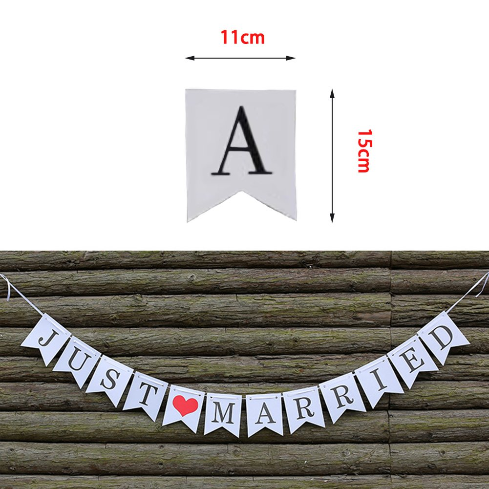 """HEZIJIA Mr Mrs 36/"""" XXL White Latex Wedding Balloons With /""""JUST MARRIED /""""Banner Engagement Banners For Wedding Party Engagement Party Decoration"""