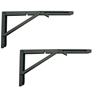 MechWares Folding Bracket For Shelves Tables Long Release Space Saving For Standing Desk Wall-Mounted Drop-Leaf In Kitchen | Laundry Room | Garage | Boat | RV (Black 1 Pair/2Pcs) (16 inch)