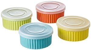 8 Piece, 8 oz. Variety Color Ceramic Ramekin Serve And Storage Set