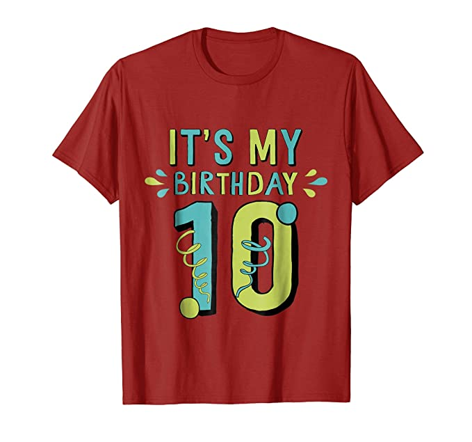 Mens 10th Birthday Shirt Gift Ten Age 10 Year Old Boy Girl Son 2XL Cranberry