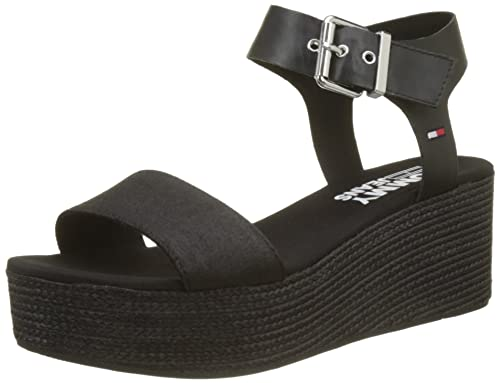 e8ad59c5d Hilfiger Denim Women s Sporty Denim Flatform Sandal (Black 990)