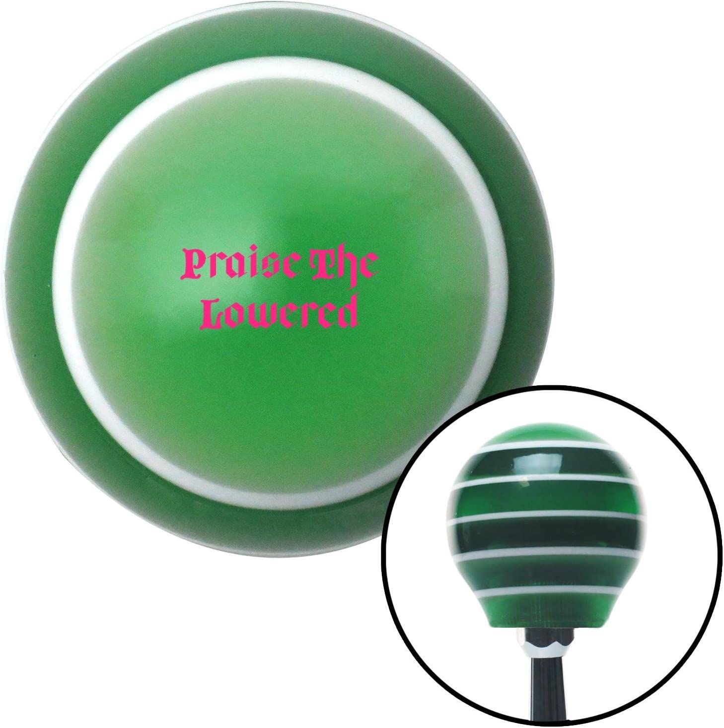 American Shifter 275886 Shift Knob Pink Praise The Lowered Green Stripe with M16 x 1.5 Insert