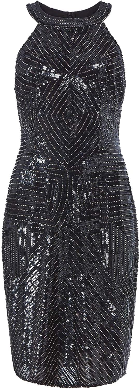 Ladies Evening Christmas New Years Eve Party LBD Sleeveless Sparkle Glitter Art Deco Little Black Dresses Roman Originals Women Sequin Embellished Halter Round Neck Dress