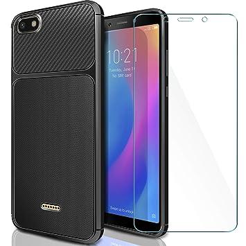 AROYI Funda Xiaomi Redmi 6A + Cristal Templado, Xiaomi Redmi 6A Carcasa & Protector de Pantalla 9H Dureza + Soft TPU Silicone Case Cover para Xiaomi ...