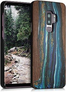 kwmobile Coque Compatible avec Samsung Galaxy S9 Plus - Coque Housse de Protection Rigide pour télephone en Bois Bleu-Marron