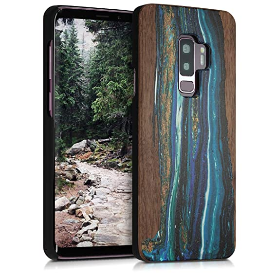 kwmobile Samsung Galaxy S9 Plus Wood Case - Non-Slip Natural Solid Hard Wooden Protective Cover for Samsung Galaxy S9 Plus