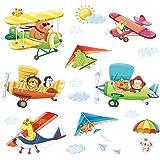 Decowall DA-1506BC Biplani con animali con il Deltaplano Adesivi da Parete Decorazioni Parete Stickers Murali Soggiorno Asilo Nido Camera da Letto per Bambini