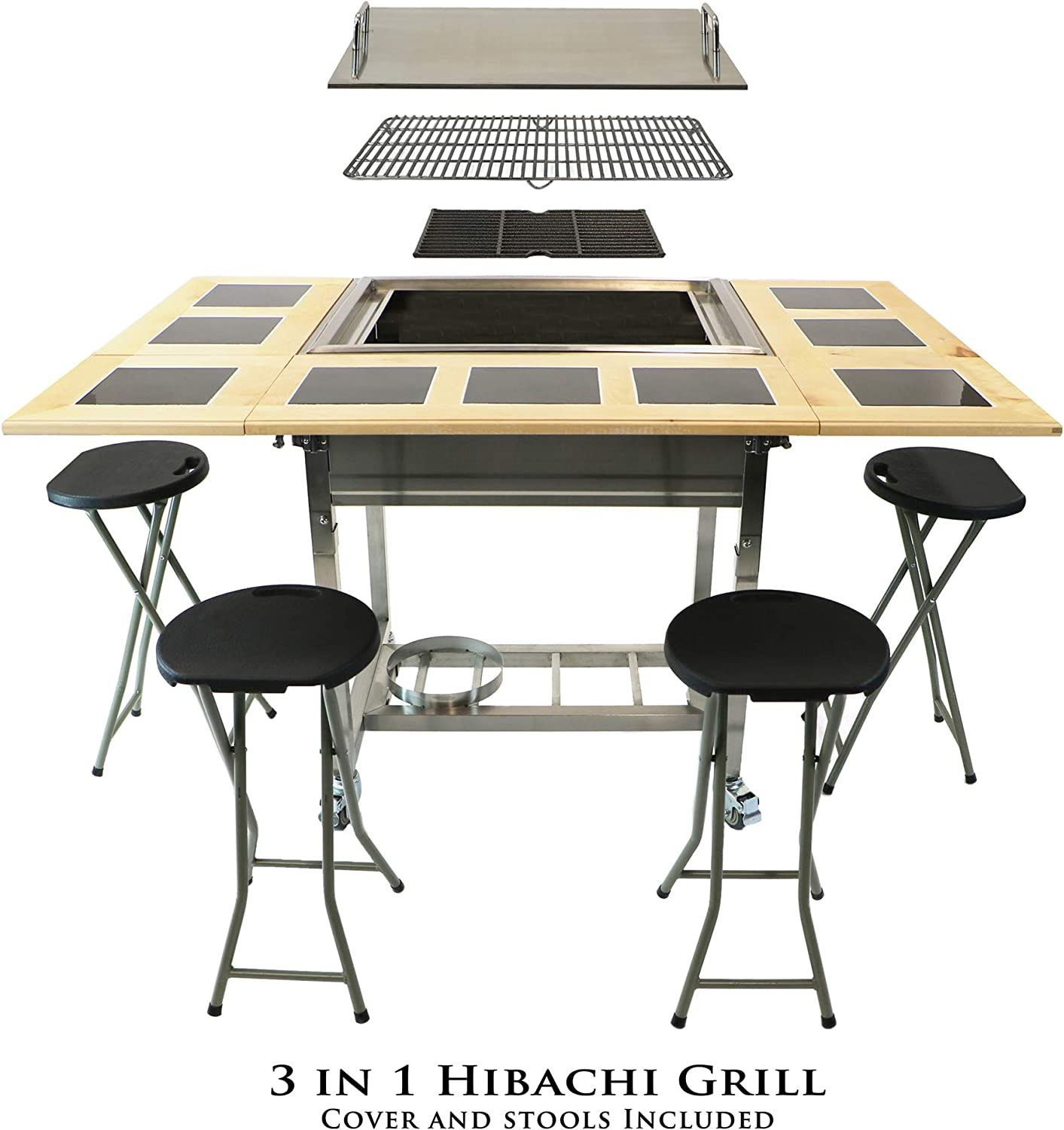 My Hibachi BBQ HBC1B Outdoor 3-in-1 Sit Around Propane w Flat Top Teppanyaki Griddle, BBQ Rack Cast Iron Portable for Tailgating Grill