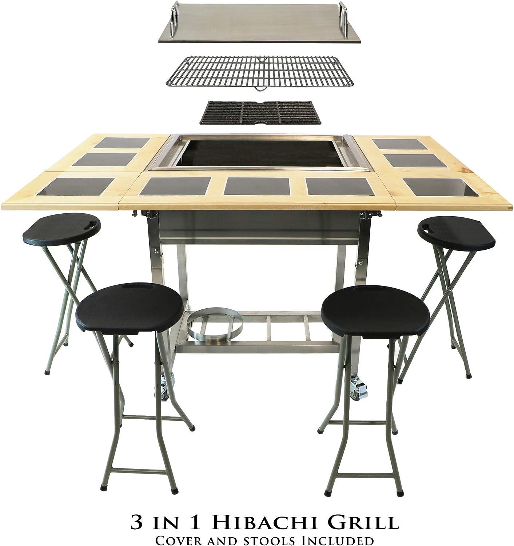 My Hibachi BBQ HBC1B Outdoor 3-in-1 Sit Around Cast Iron Propane Grill with Flat Top Teppanyaki Griddle, BBQ Rack