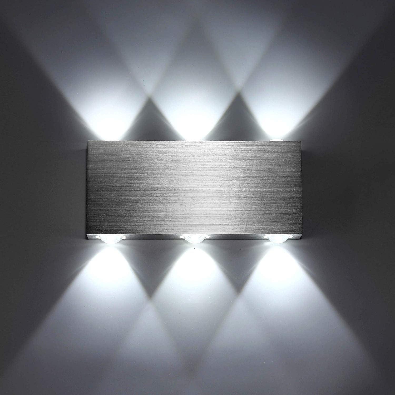 SISVIV Apliques de Pared Puro Aluminio 6 LED 6W Lámpara de Pared Interior Luz Para Dormitorio Escalera Blanco Frío