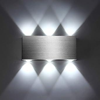SISVIV Apliques de Pared Puro Aluminio 6 LED 6W Lámpara Pared Interior Moderno Luz Para Pasillo Dormitorio Escalera Blanco Frío: Amazon.es: Iluminación