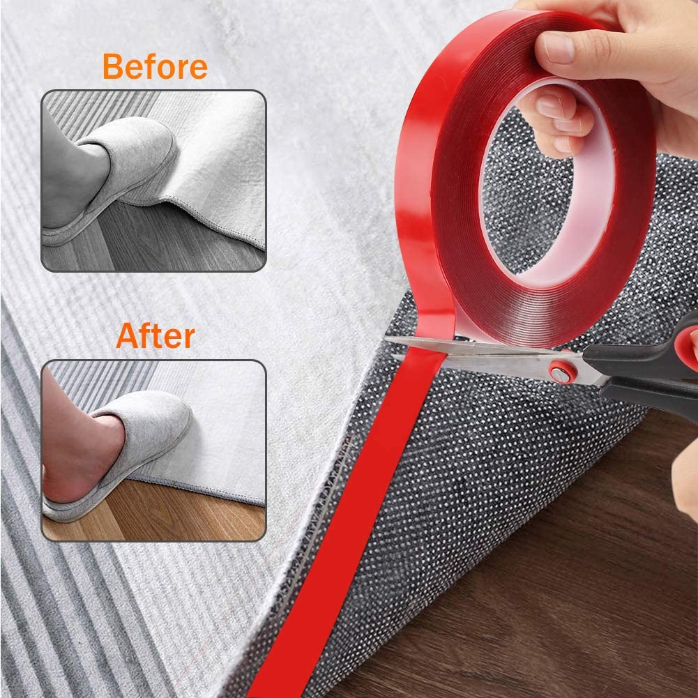 10m 33FT Nano Double Sided Tape,No Trace Clear Double Sided Mounting Tape Washable Strong Gel Anti-Slip Tape Wall Tape Poster Tape for Paste Photos Carpet Mats Home Office Wall Decoration