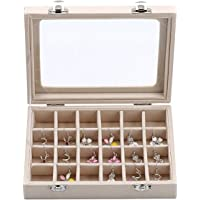 YFLY Velvet Glass Jewelry Ring Earring Display Organizer Box Tray Holder Storage Case