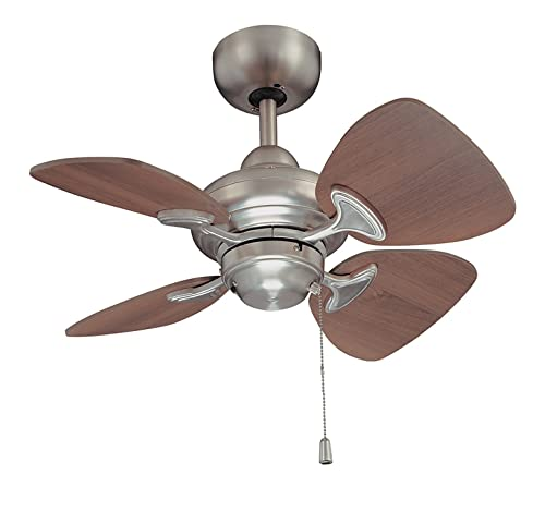Kendal Lighting AC16324-SN Aries 24-Inch 4-Blade Ceiling Fan, Satin Nickel Finish and Royal Walnut Blades