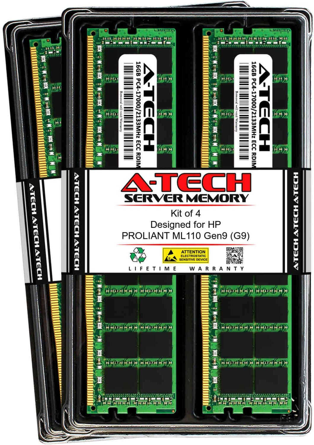 A-Tech 64GB (4X 16GB) RAM for HP PROLIANT ML110 Gen9 (G9) | DDR4 2133MHz ECC-RDIMM PC4-17000 2Rx4 1.2V 288-Pin ECC Registered Server Memory Upgrade Kit