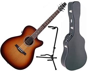Seagull Entourage Rustic Concert Hall CW QIT Acoustic Electric Guitar W Hard Shell Case And
