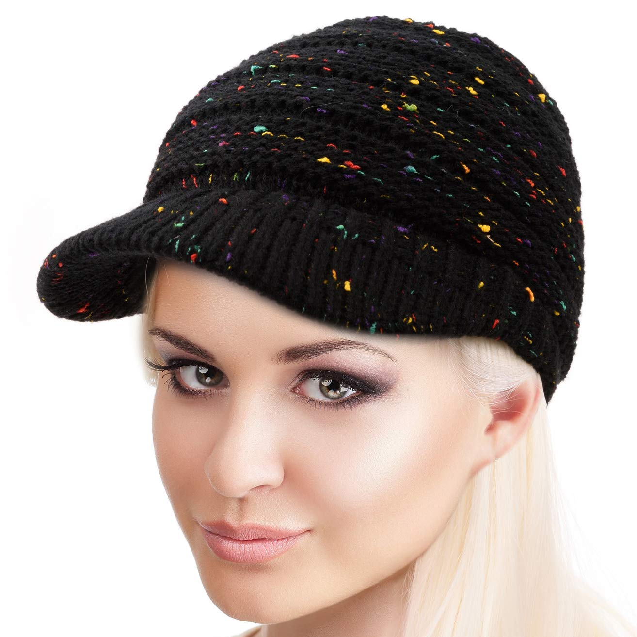 74551ccba66 BeCann Winter Hat Warm Knit Women s High Ponytail Hat Bun Messy Visor  Beanie Cap product image