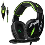 [SUPSOO G813 New Xbox one Gaming Headset ]3.5mm Stereo Wired Over Ear Gaming Headset with Mic&Noise Cancelling & Volume Control for New Xbox One / PC / Mac/ PS4/ Table/ Phone (Black&Green)