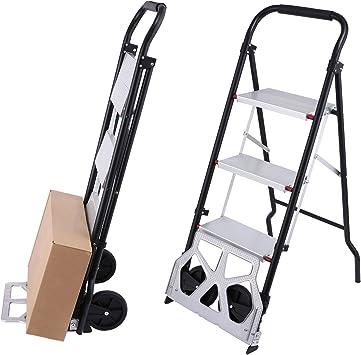 Meditool 2 en 1 Carretilla de Mano y Escalera Domestica Escaleras de Tijera con 3 Peldaños Capacidad de Carga Máx.: 80kg (Carretilla), 150kg (Escalera): Amazon.es: Bricolaje y herramientas
