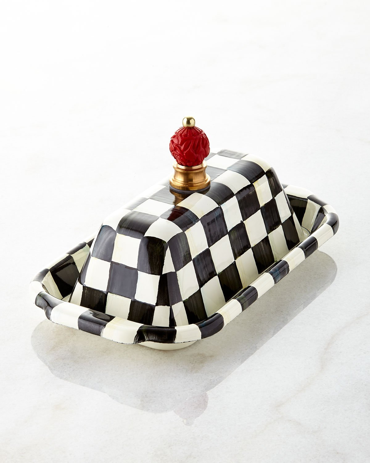 MacKenzie Childs Courtly Check Enamel Butter Box, Black / White