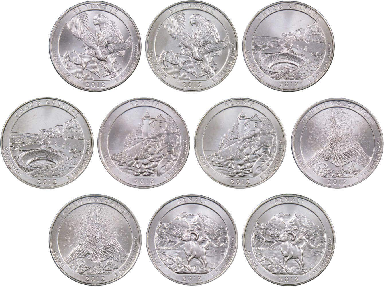 UNCIRCULATED ALL 10 COINS 2018 P/&D ATB NATIONAL PARK QUARTER COLLECTION