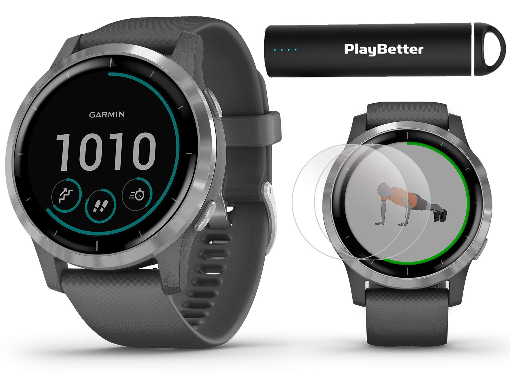Garmin vivoactive 4 (Shadow Gray/Silver) Fitness Smartwatch Power Bundle | 2019 Model | with HD Screen Protectors (x4) & PlayBetter Portable Charger | Spotify, Music, Garmin Pay, Health Monitoring by PlayBetter