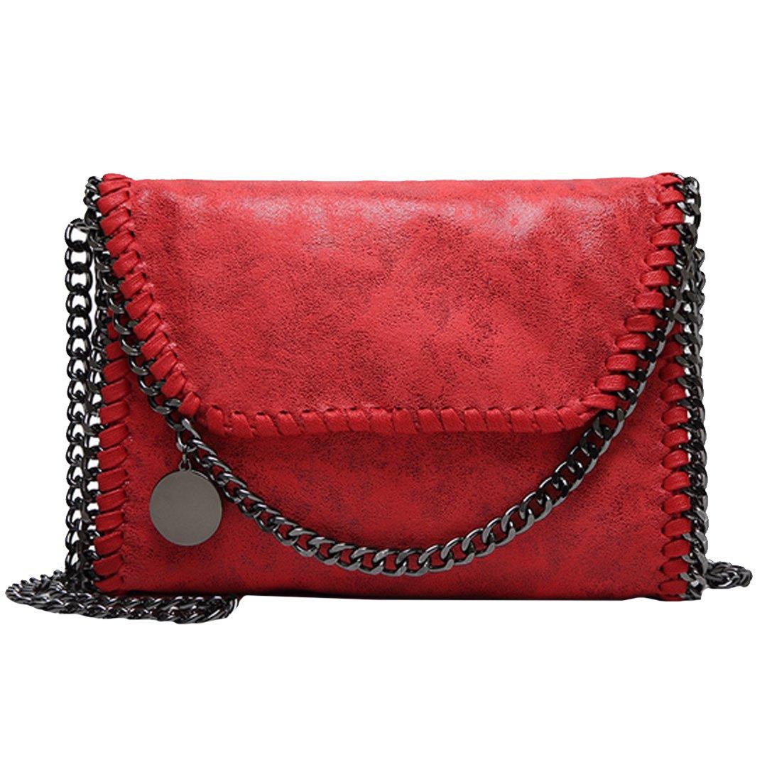 Amily PU Leather Chain Bag Cross Body Bag Hobo Handbag Clutch Shoulder Bag Messenger Bag Purse Pouch for Women Red