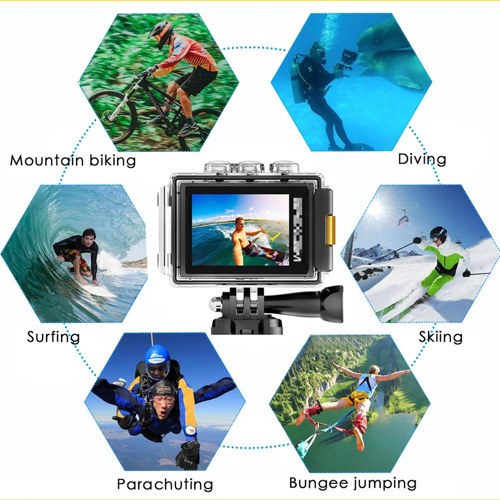 CrazyFire EIS Action Camera 4K 16.0MP HD Waterproof DV Camcorder-170 Degree Wide Angel Wifi and 2.4G Sport Camera with Dual Mic and Travel Bag Include Mounting Accessories Kit by CrazyFire (Image #5)