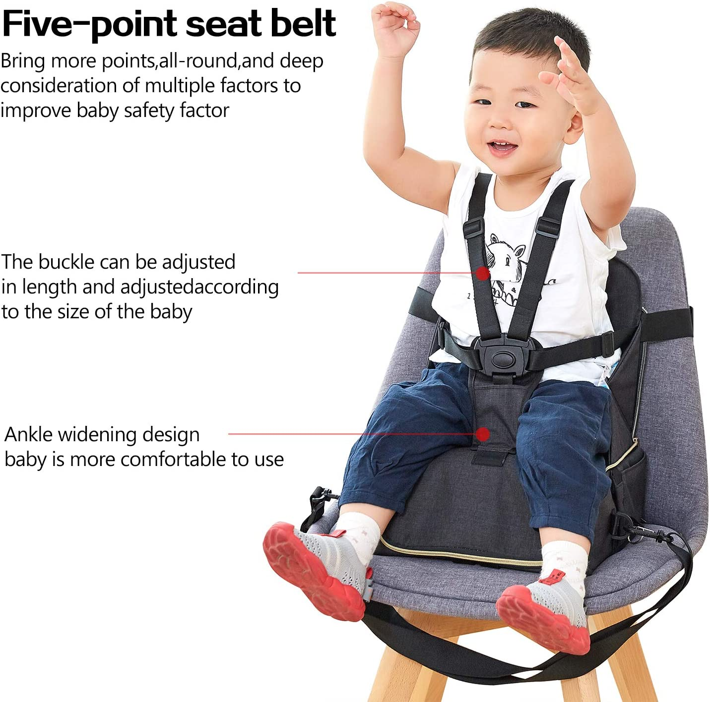 5-Point Harness Travel Backpack -Fits Most Standard Size Chairs Multi-Function Portable Baby Diaper Bag BeeViuc Travel Booster Seat for Family and Toddler Dining Camouflage