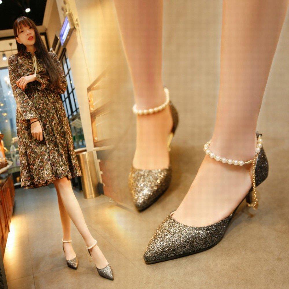 schuheES Frühling und Sommer Frauen Sandalen High Heel mit Schuh Flachen Mund Einzelnen Schuh mit Scharfe Helle Schnalle mit Hohem Absatz C 36 744df2