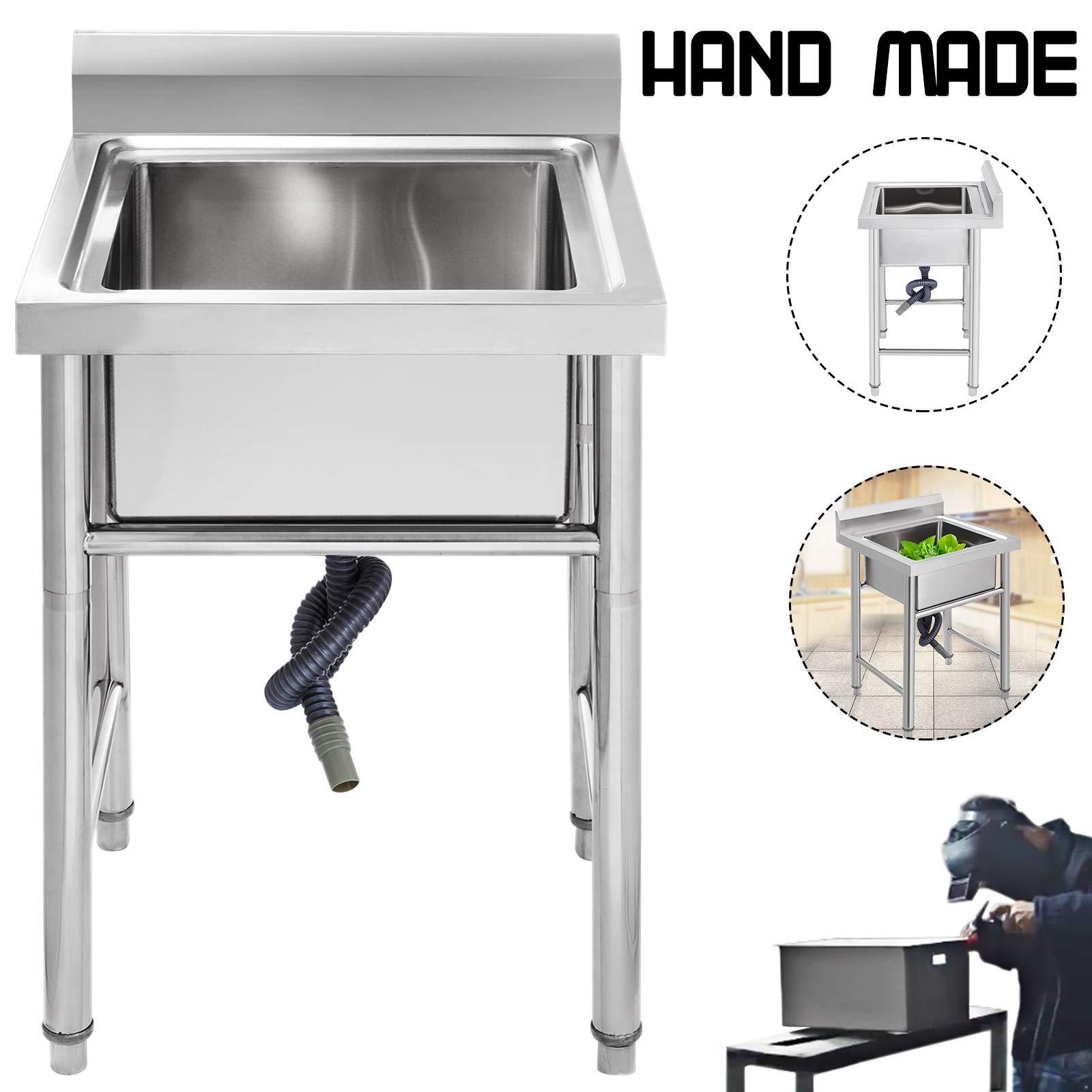 Mophorn Stainless Steel Bar Sink Commercial Standard Underbar Sink for bar kitchen restaurant (1 Compartment 17.5 Inch)