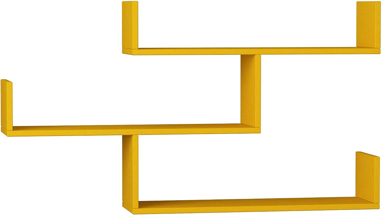 Ada Home Décor Wilton Wall Shelf, 47'' X 26'' X 9'', Mustard