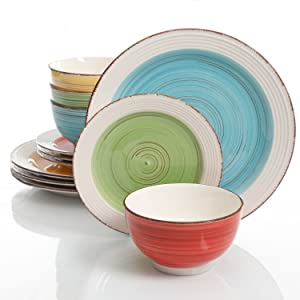 Gibson Home Confetti Band 12 Piece Mix and Match Dinnerware Set, Assorted Colors