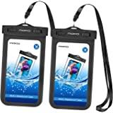 [2 Pack] Universal Waterproof Phone Pouch, MoKo IPX 8 Waterproof Phone Case Dry Bag with Armband & Neck Strap Compatible with iPhone X/8 Plus/8/7/6S Plus, Samsung Galaxy S9+ / S9, BLU, Moto