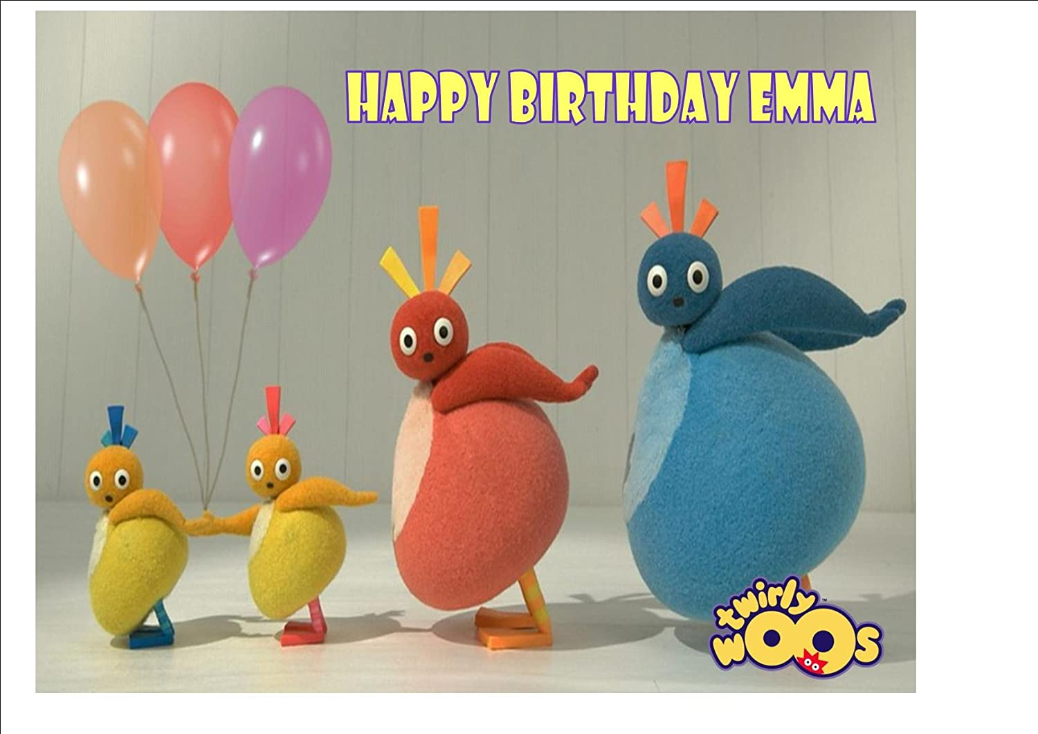 TWIRLYWOOS CAKE TOPPER PERSONALISED BIRTHDAY CAKE PRINTED TOPPER TWIRLY WOOS