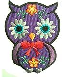 Parches - búho animal niños - púrpura - 6.7x9.0cm - termoadhesivos bordados aplique para ropa