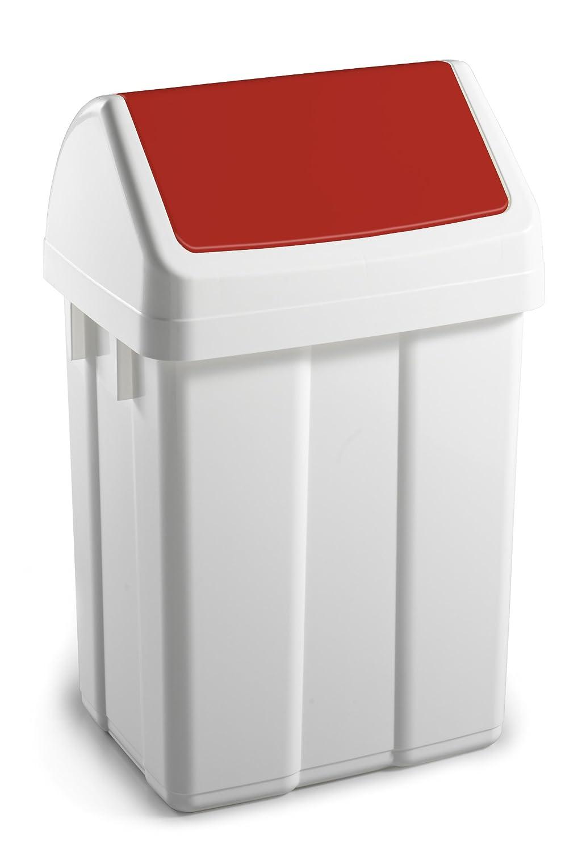 TTS Cleaning 00005201Max Abfalleimer aus Polypropylen, Schwingdeckel rot, Kapazität 25Liter, weiß TTS CLEANING S.R.L. RA-5026R