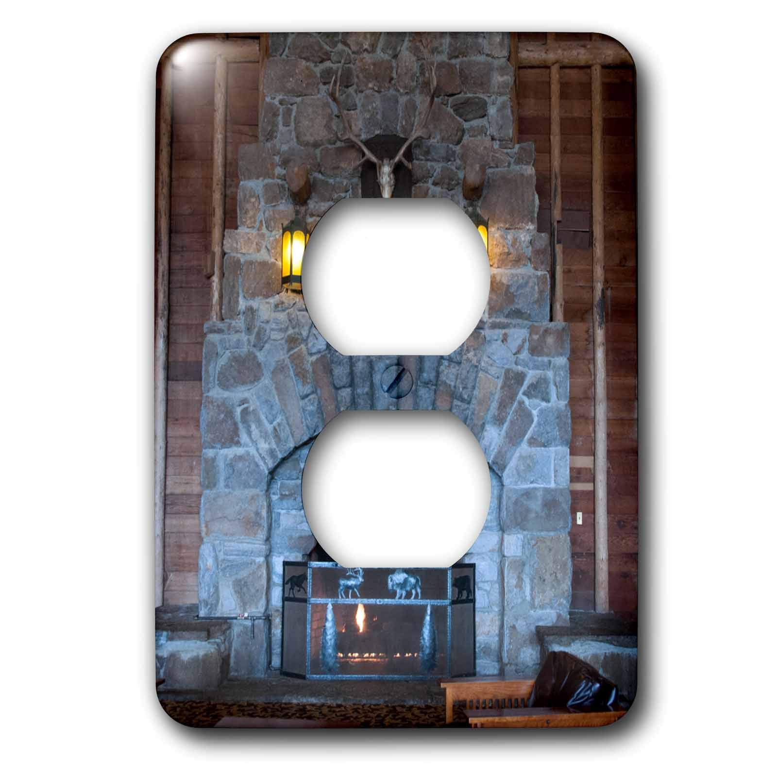 3dRose Jos Fauxtographee- Yellowstone Fireplace - The Yellowstone Hotel with The huge fireplace of brick - Light Switch Covers - 2 plug outlet cover (lsp_293356_6)