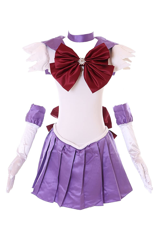 H-6009 Saturn Crystal Sailor Moon weiß lila Cosplay Kleid Handschuhe Set dress Kostüm costume Kawaii-Story