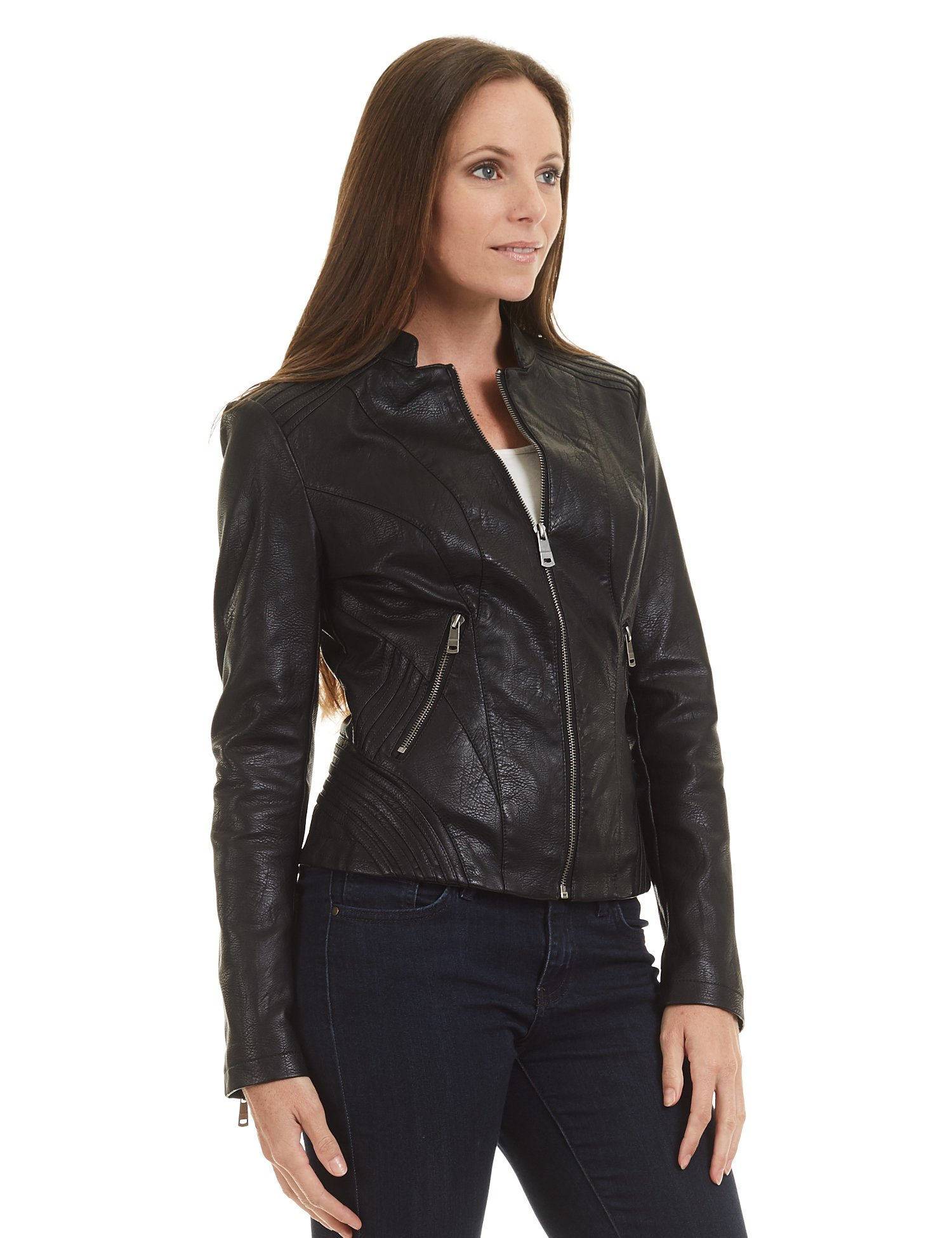Made By Johnny WJC1427 Womens Quilted Faux Leather Biker Jacket M Black