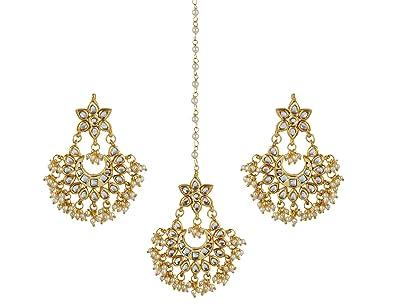 eae1e547e6 Buy Jewellity Kundan And Pearl Maang (Mang) Tika (Tikka) With Chandbali  Earrings Golden Wedding Ethnic /Cocktail Jewellery For Women Mtsk-551  Online at Low ...