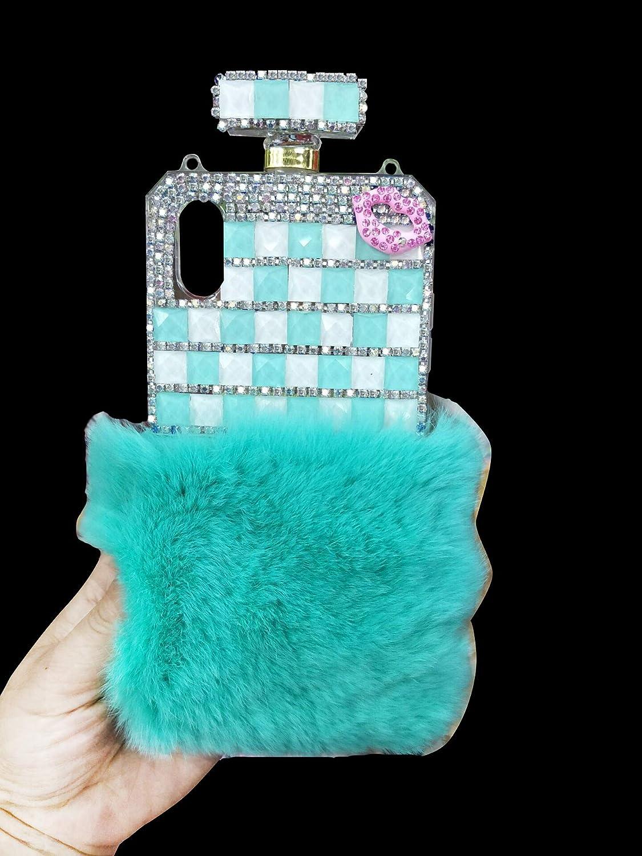 LUVI for iPhone 7 Plus/8 Plus Perfume Bottle Case Luxury Bling Diamond Crystal Sparkle Rhinestone Glitter Plush Cover with Furry Rabbit Fur Shell Case for iPhone 7 Plus/8 Plus Teal